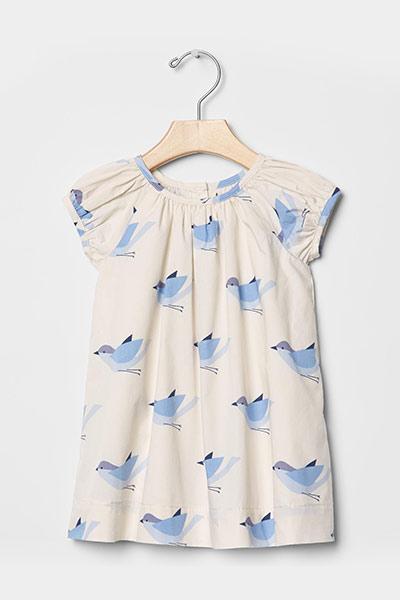 Shirred bird dress